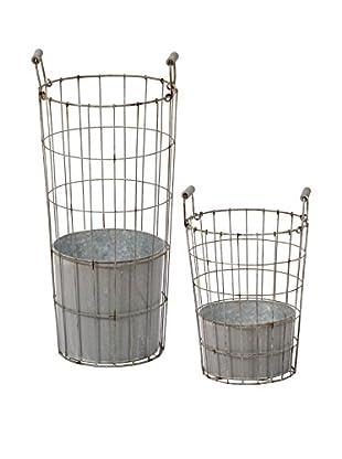 Winward Set of 2 Wire Flower Buckets, Grey/Brown