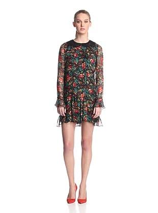 Anna Sui Women's Fauve Floral Print Gauze Dress (Forest Green Multi)