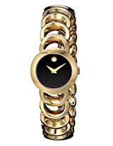 Movado Women's 0606253 Rondiro Mini Gold-Plated Black Museum Dial Watch