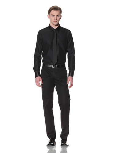 Halston Men's Jacquard Button-Up Shirt with Satin Trim (Black)