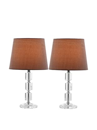 Safavieh Set of 2 Erin Crystal Cube Lamps, Chrome/Gray