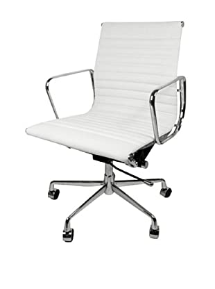 Mid-Century-Inspired Executive Office Chair (White)