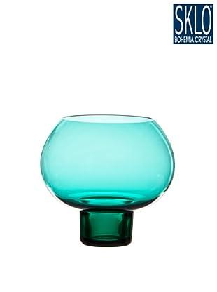 Cristal de Bohemia Portavelas Columna Votive Round Azul