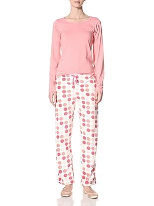 Aegean Apparel Women's Multi Dot Print PJ Set Long Sleeve Tee/Long Pant (Pink/multi)