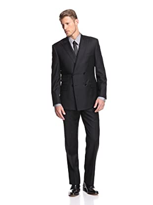 English Laundry Men's Double Breasted Solid Suit (Black)