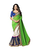 Texclusive Women's georgette and raschel net Saree with Blouse Piece