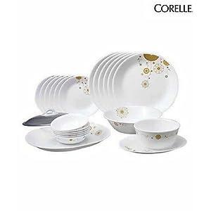 corelle india collection elite dinner set of 21 pcs, multicolor