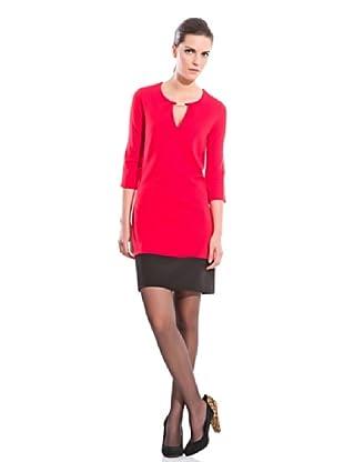 Cortefiel Vestido Contrastado (Rojo)