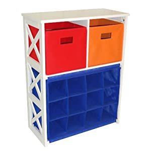 X-Frame Kids Storage W/ 2-Primary Colored Bins & 12-Slot Cubby