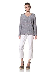 525 America Women's Tweed Center Seam Sweater (Purple Thistle Combo)