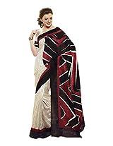 Brijraj Black Red White Bhagalpuri Silk Beautiful Printed Saree With Unstitch Blouse