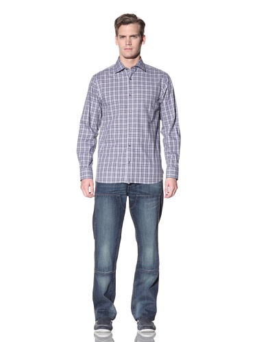 Hickey Freeman Sterling Men's Plaid Button-Up Shirt (Navy)
