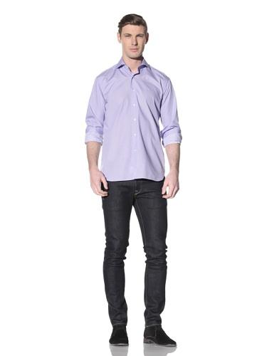 Orian Men's Spread Collar Washed Regular Fit Sport Shirt (Blue/White)