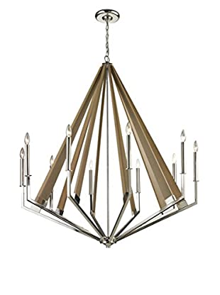 Artistic Lighting Madera Collection 10-Light Chandelier, Polished Nickel