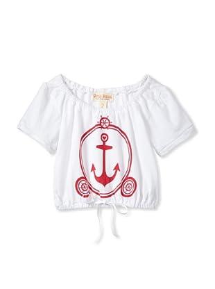 Upper School Girl's Short Sleeve Anchor Tee (White)