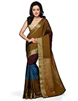 Utsav Fashion Women's Antique, Maroon and Blue Art Silk Saree with Blouse
