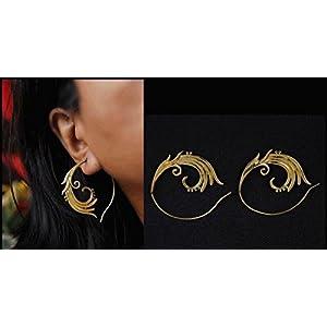 Desi Soul Brass Spiral Ornate Earring