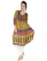 Shop Avenue Women's Cotton Regular Fit Kurti (WGS07114, Multicolor, XX-Large)