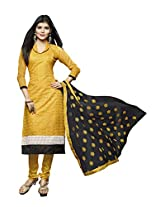 Manvaa STUNING YELLOW AND BLACK Embroidered Dress Material