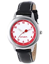 Red Balloon Kids W000197 Black Leather Strap Stainless Steel Time Teacher Watch