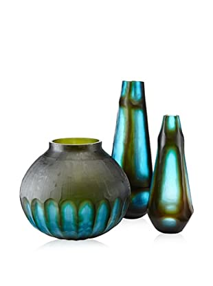 Jamie Young Set of 3 Tie Dyed Glass Vases