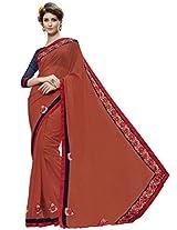 Indian Women Georgette Orange Half & Half Saree