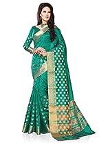 Meghdoot Artificial Silk Saree (ETHNIC_MT1419_RAMA Woven Turqouise Green Colour Sari)