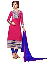 Vibes Women Cotton Salwar Suit Dress Material (V166-15001 _Pink _Free Size)