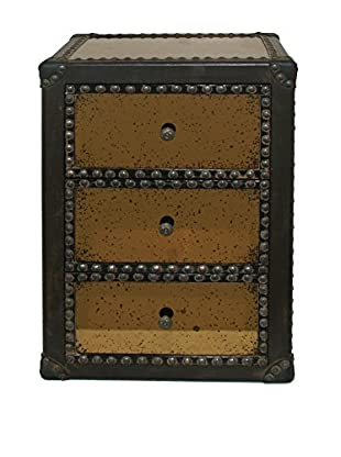 Three Hands Studded Wood Cabinet, Brown/Bronze