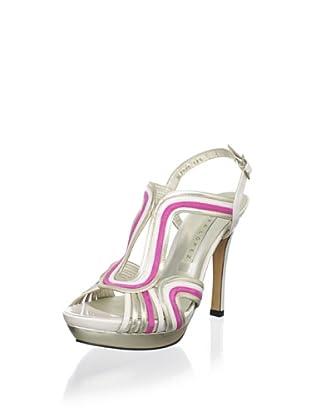 Pura López Women's Caged Platform Sandal (White Multi)