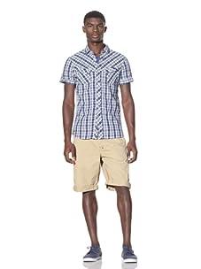 J.C. Rags Men's Shorts Sleeve Button-Up Shirt (Ink Blue)