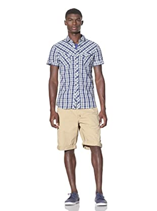 J.C. Rags Men's Short Sleeve Button-Up Shirt (Ink Blue)