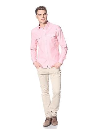 Dorsia Men's Joe Long Sleeve Button-Up Shirt (Salmon Pinstripe)