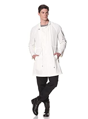 Rochambeau Men's Water Resistant Coat with Paneled Closure Extension (Ivory)