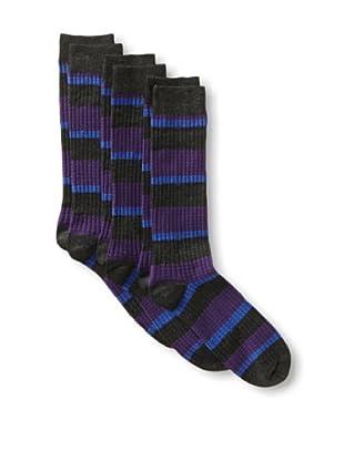 2xist Men's Waffle Multi Stripe Crew Socks - 3 Pack (Black/Charcoal)