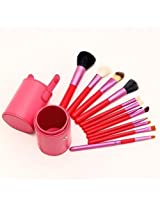 Youngman Professional Makeup Brush Sets Cosmetic Brush Kit Makeup Tool With Cup Leather Holder Case (Rose)