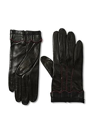Portolano Women's Scalloped Ruffle Trim Leather Gloves (Black/Red)