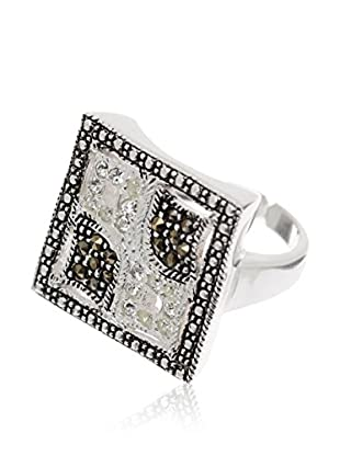 Silver One Anillo Square Belle Zirconium Marquesitas