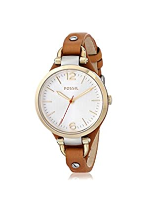 Fossil Women's ES3565 Georgia Brown/Mother Of Pearl Stainless Steel and Leather Watch