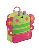 Stephen Joseph Butterfly Sidekicks Backpack, Green/Pink