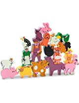 Vilac 18 Piece Wood Stacking Puzzle, Farm Animals