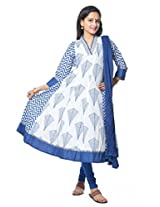 Vastra Vinod Blue Cotton Anarkali Suit