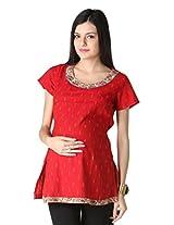 Morph Maternity Womens Cotton Maternity Kurta ,Red ,Small