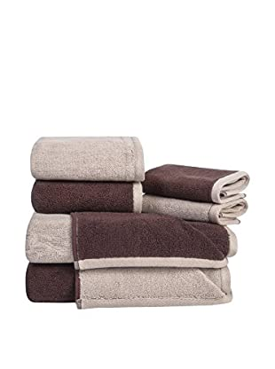 Home Source Reversible 6-Piece Towel Set, Chocolate/Latte