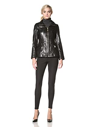 Via Spiga Women's Tina Lamb Skin Leather Jacket (Black)