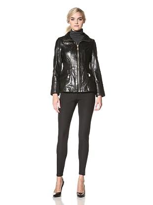 Via Spiga Women's Tina Lamb Skin Leather Jacket (Black)
