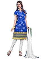 Blue Manvaa Embroidered Suit with Collar and 3/4th Sleeves
