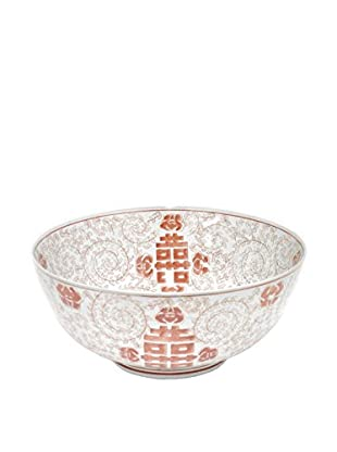 Three Hands Round Red/White Ceramic Bowl