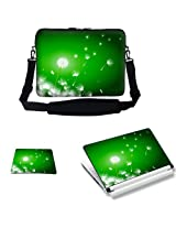 Meffort Inc 17 17.3 inch Laptop Carrying Sleeve Bag Case with Hidden Handle & Adjustable Shoulder Strap with Matching Skin Sticker and Mouse Pad Combo - Green Dandelion Design