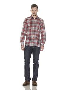 Shirt by Shirt Men's Puckered Plaid Button-Up Shirt (Navy/Red)